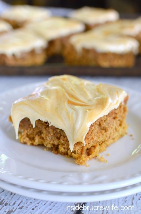 Oatmeal pumpkin cake topped with a creamy salted caramel frosting ...