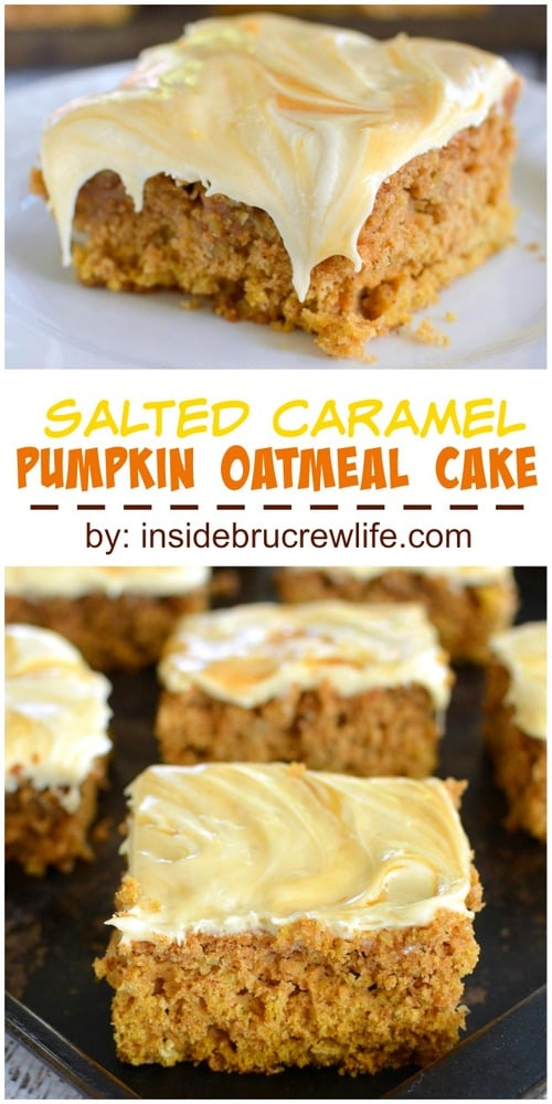 Oatmeal pumpkin cake topped with a creamy salted caramel frosting.  This cake is so good!!!