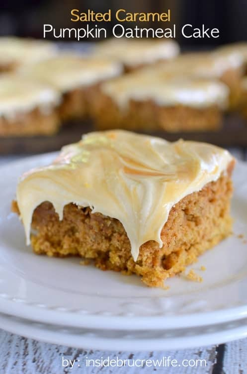 pumpkin cake topped with a creamy salted caramel frosting. This cake ...