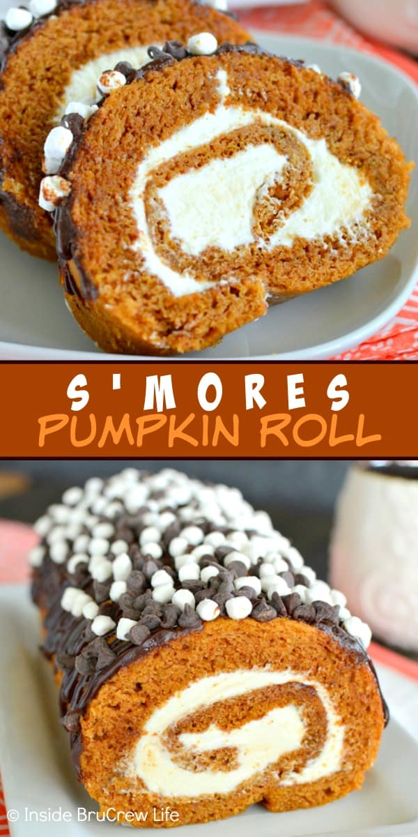 S'mores Pumpkin Roll - marshmallow frosting and chocolate drizzles add a sweet flavor to the classic pumpkin roll. Easy recipe to make for dinners this fall. #pumpkin #cakeroll #fall #smores #thanksgiving