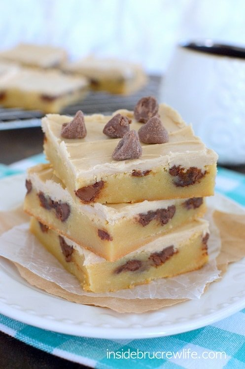 Rich and fudgy white chocolate bars with caramel chips and a coffee frosting are perfect for indulging on.
