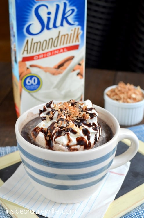 Almond milk, chocolate, and coconut come together to make an easy homemade drink without the extra calories