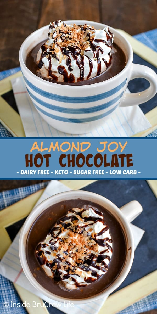 Almond Joy Hot Chocolate - whisk together almond milk, cocoa powder, and your favorite sweetener to make a delicious homemade hot chocolate. This easy sugar free hot chocolate recipe is perfect for chilly days. #hotchocolate #sugarfree #dairyfree #lowcarb #homemade #keto #chocolate