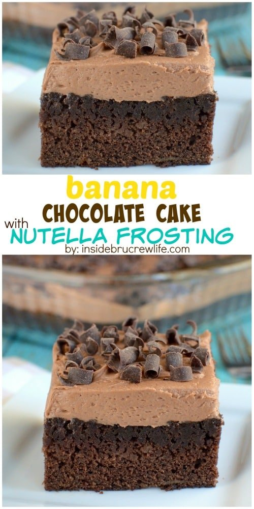 Chocolate banana cake topped with a creamy rich Nutella frosting is the best way to use up ripe bananas.