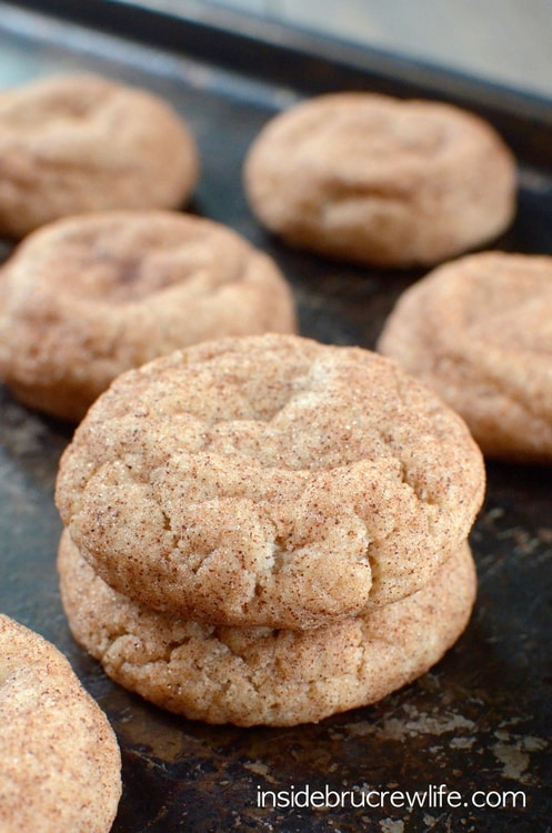 Cinnamon Caramel Cookies - thick puffy cookies filled with a caramel candy bar. Great recipe to make for your cookie jar!