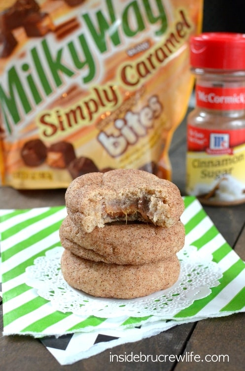 Cinnamon cookies with a fun caramel center is perfect for every cookie jar.