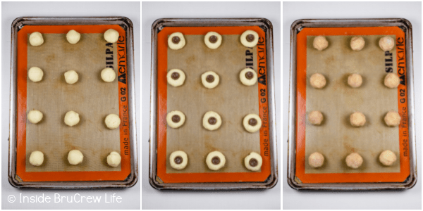 Three pictures collaged together showing the steps to rolling and filling these caramel cookies.