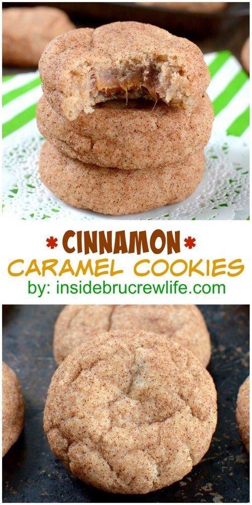 Cinnamon Caramel Cookies - these soft puffy cookies have a caramel candy bar center and cinnamon sugar coating. Great recipe to fill your cookie jar with!