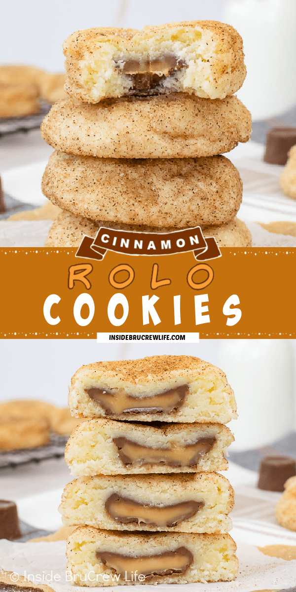 Two pictures of Cinnamon Rolo Cookies collaged together with a tan text box.