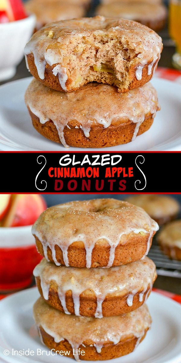 Two pictures of Glazed Cinnamon Apple Donuts collaged together with a black text box