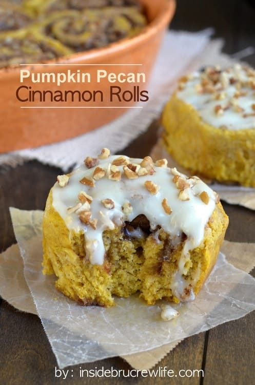 Easy no yeast cinnamon rolls full of pumpkin and pecan goodness and covered in cream cheese frosting! You are going to love these!