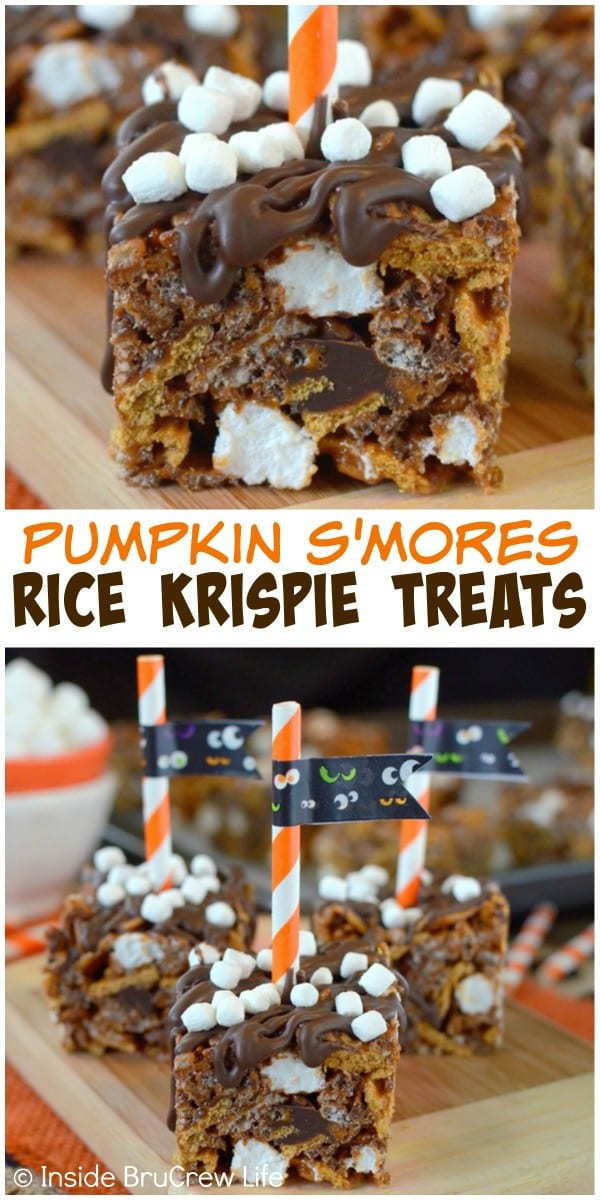 These s'mores rice krispie treats are made with pumpkin, chocolate, and Golden Grahams. Add a colored straw and flag for a fun display at parties!
