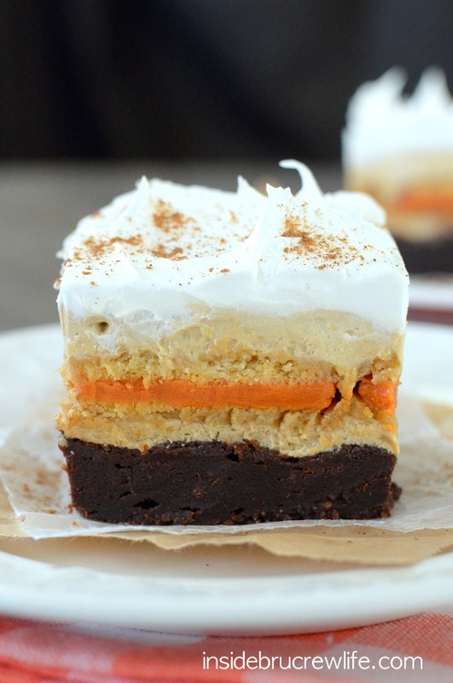 Pumpkin Spice Latte Brownies - a fun layered brownie is the recipe you need for fall parties!