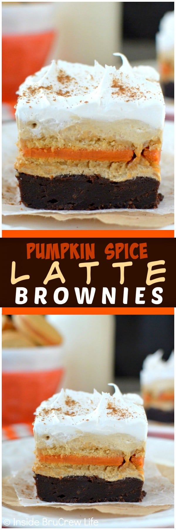 Pumpkin Spice Latte Brownies - layers of fudge brownies, cookies, & no bake coffee cheesecake make this a fun fall dessert. Great recipe for parties!