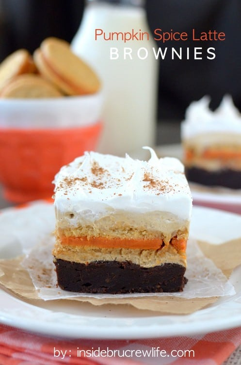 Pumpkin Spice Latte Brownies - layers of brownies, cookies, and no bake coffee cheesecake is the perfect fall dessert! Great party dessert!