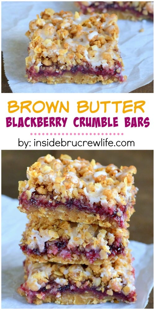 Brown butter and blackberry make these crumble bars disappear in no time!  Perfect for enjoying any time!