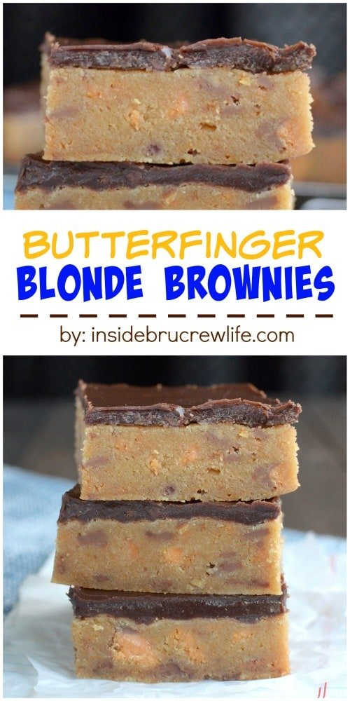 The rich decadent blonde brownies are full of Butterfinger candy bar chunks and topped with chocolate. Good luck only eating one!