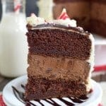 Candy Cane Chocolate Cheesecake Cake