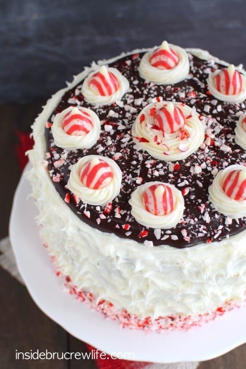 Chocolate cake with chocolate cheesecake, peppermint frosting, and candy cane chunks is an impressive holiday cake