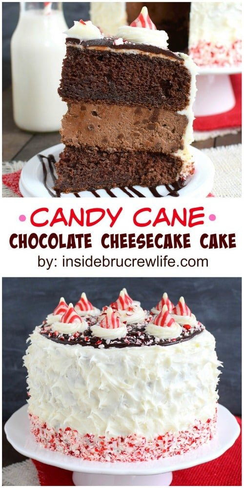 Candy Cane Chocolate Cheesecake Cake - layers of chocolate cheesecake and cake with peppermint frosting is one holiday dessert you have to make this year! This is the perfect recipe for holiday parties or events!