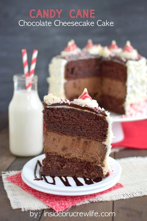 Candy Cane Chocolate Cheesecake Cake - chocolate cake with chocolate cheesecake, peppermint frosting, and candy cane chunks is an impressive holiday cake