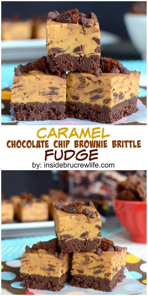 The Chocolate Chip Brownie Brittle crust makes this caramel fudge a fun treat to make and share.  Perfect holiday dessert!