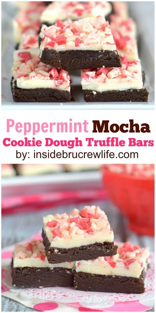 No bake mocha cookie dough with a white chocolate and peppermint topping will be a fun addition to your holiday cookie trays.