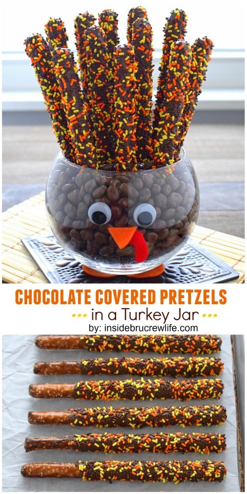 Two pictures of chocolate covered pretzels in a turkey jar collaged together with a white text box