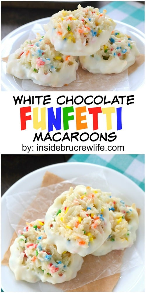 Sprinkles and white chocolate give these coconut macaroons a fun twist