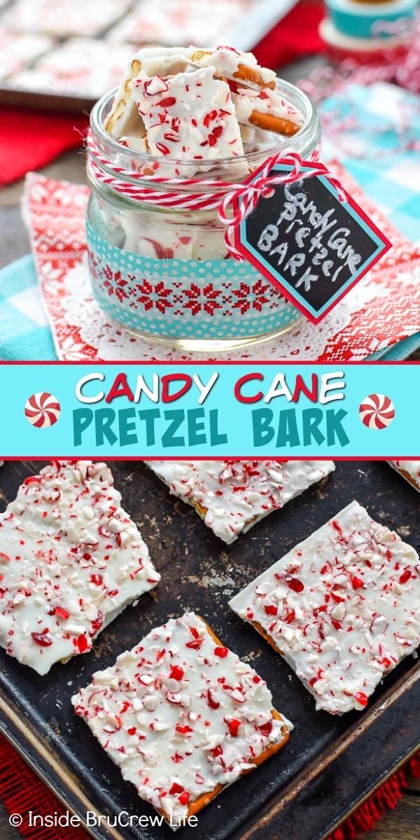 Two pictures of candy cane pretzel bark collaged together with a teal text box