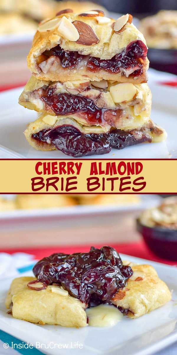 Cherry Almond Brie Bites - crescent roll bites filled with a homemade cherry filling and brie cheese makes a delicious appetizer. Make this easy recipe for parties or game days! #cherry #brie #appetizers #gameday #partyfood