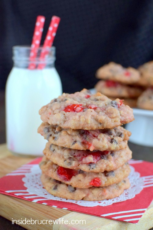 Oatmeal chocolate chip cookies get a fun twist when cherry pieces are added to them.