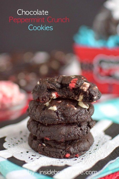 Chocolate cookies loaded with peppermint chips and Oreo cookie chunks.  This is one holiday cookie you do not want to miss!