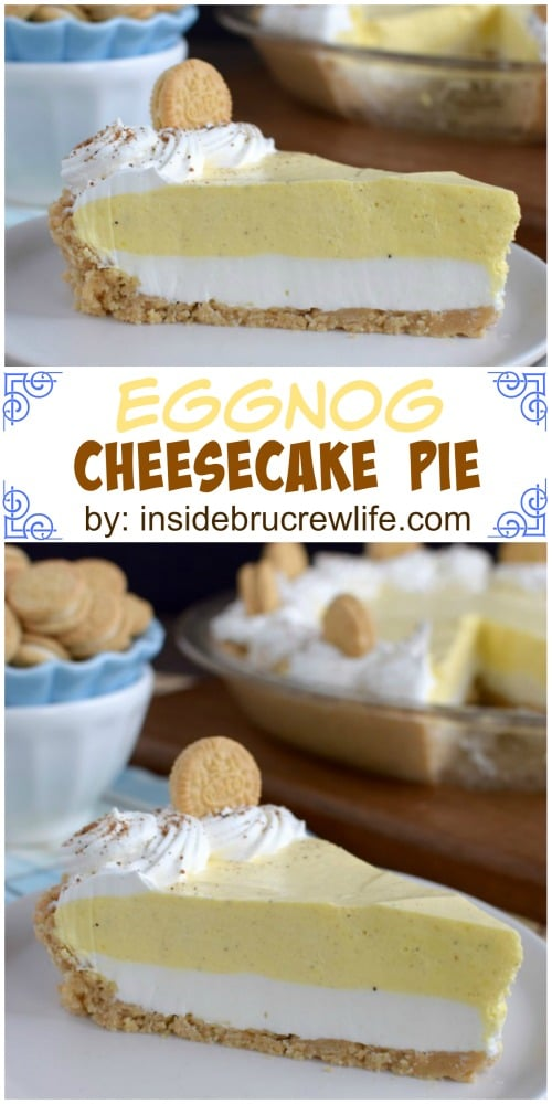 This easy no bake pie has a layer of cheesecake, eggnog pudding and a Golden Oreo crust. Perfect for the holidays.