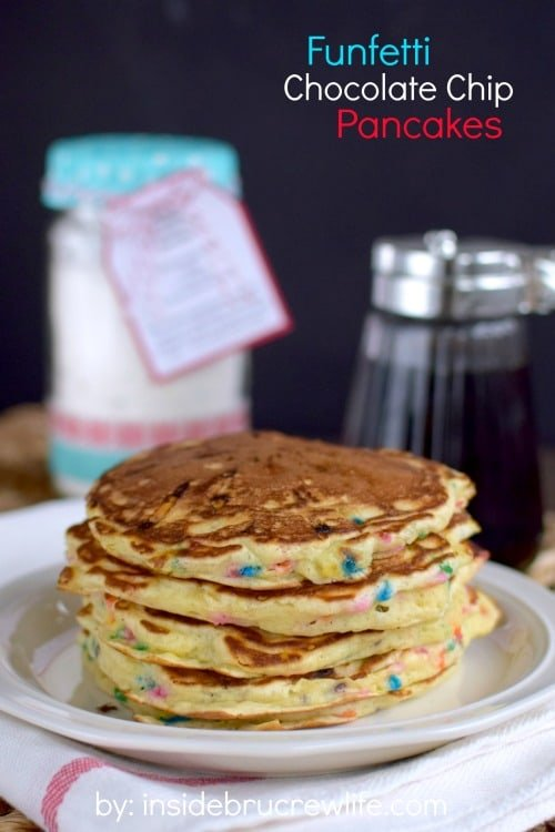 This easy homemade pancake mix is loaded with funfetti sprinkles and chocolate chips.  Perfect kid friendly breakfast!