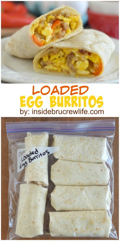 Loaded Egg Burritos - fill your freezer with a batch of these easy egg and cheese burritos. This is the perfect recipe to heat up on busy mornings.