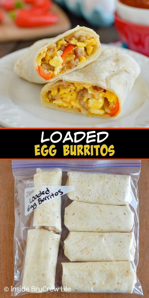 Two pictures of egg burritos collaged together with a black text box.