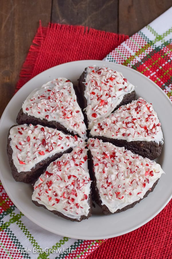 Peppermint Mocha Scones - frosting and peppermint bits make these chocolate scones a delicious breakfast treat for Christmas morning. #scones #peppermintmocha #chocolate #breakfast #christmas
