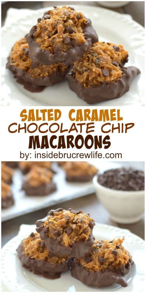 Sea salt, caramel, and chocolate make these coconut macaroons a cookie worth making again and again. Perfect for holiday trays!