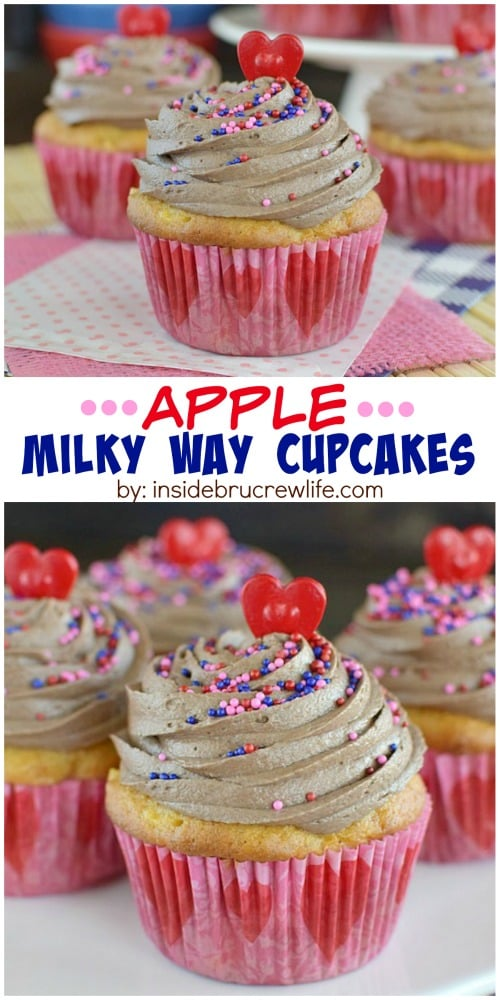 Adding apples to cupcakes and Milky Way candy bars to frosting makes these cupcakes a fun treat!