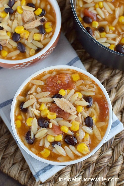 This easy chicken enchilada soup can be on your table in under 20 minutes. Perfect for busy nights.