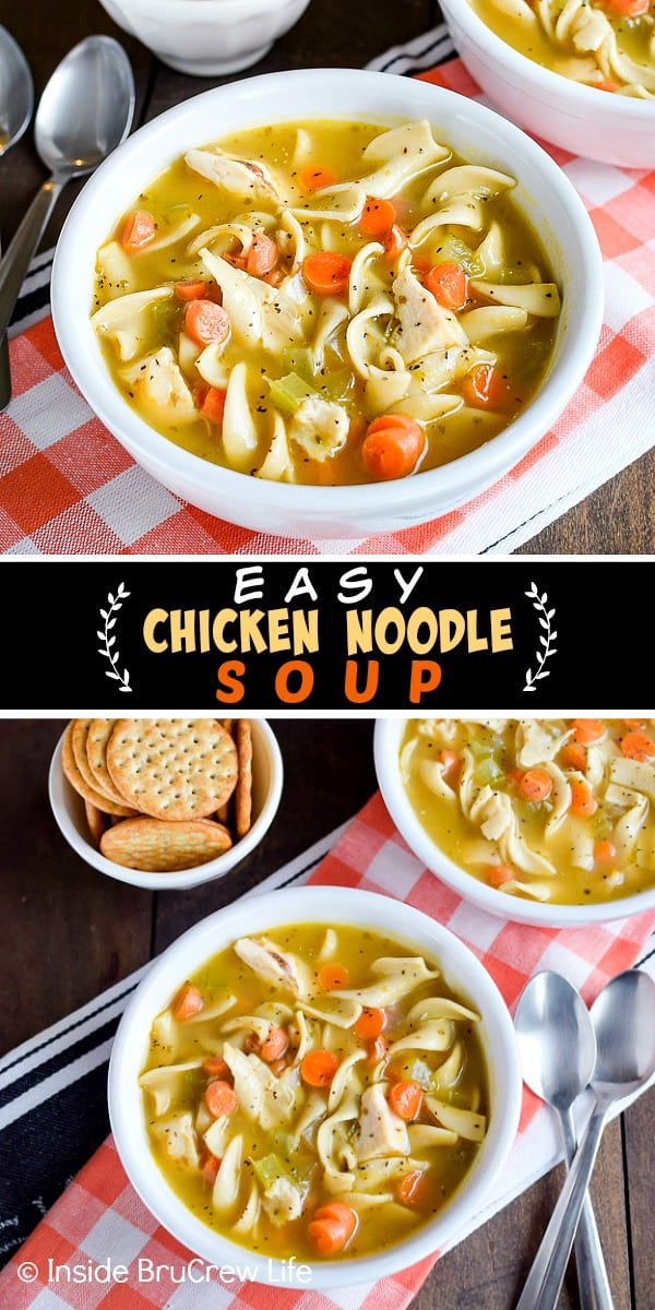 Easy Chicken Noodle Soup - this easy soup is loaded with chicken, veggies, and noodles. It is a great comfort food meal to make when it is cold outside or when you do not feel good. #soup #chickennoodle #homemade #easydinner #30minutemeal #chickendinner #comfortfood