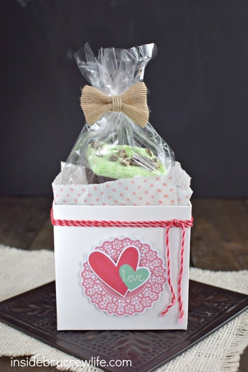 Chocolate Mint Sugar Cookie Bars in a cute package!