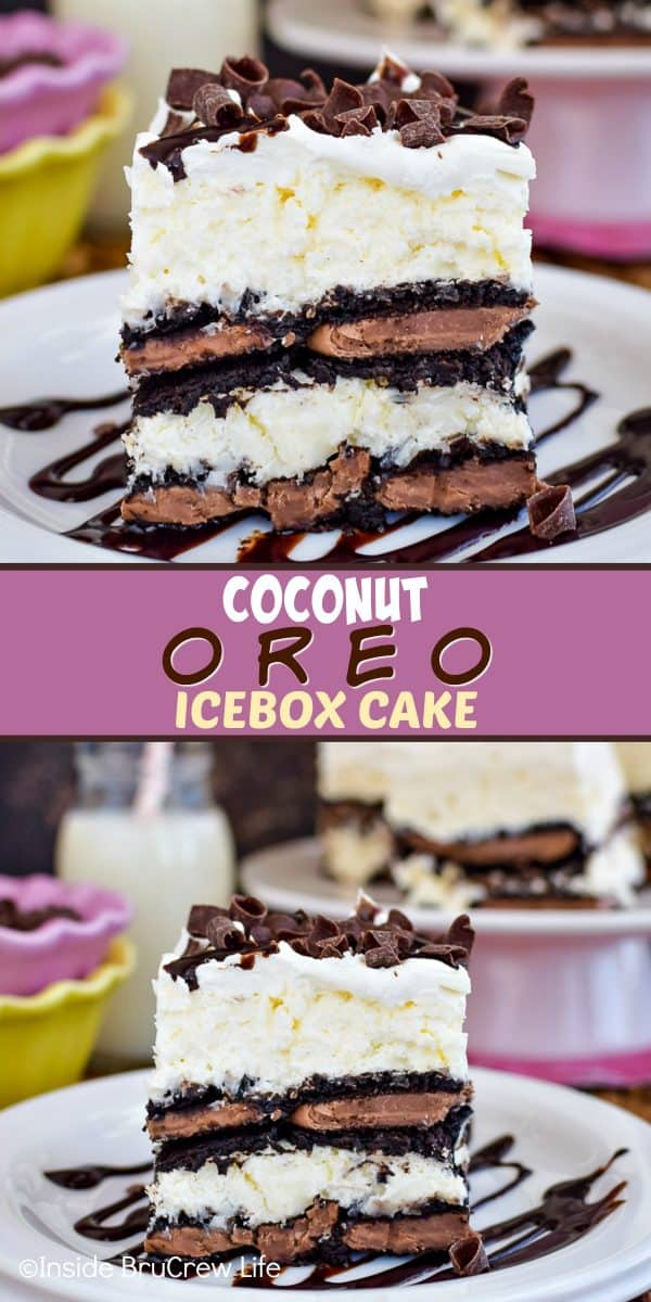Coconut Oreo Icebox Cake - layers of chocolate Oreos and no bake coconut cheesecake gives this icebox cake a delicious and pretty flair! Try this easy recipe for summer picnics and parties! #iceboxcake #coconut #Oreo #nobake