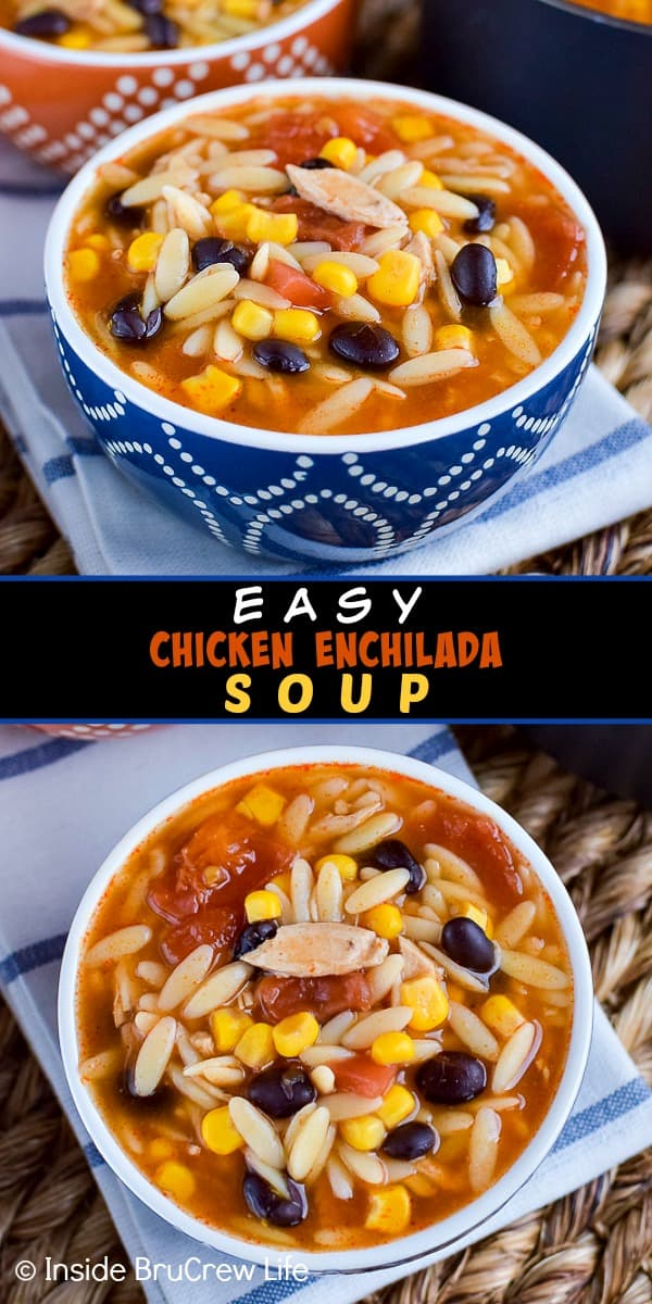 Easy Chicken Enchilada Soup - this easy chicken soup is loaded with meat, veggies, and pasta. It is a great comfort food meal to make on cold nights. #dinner #soup #chickenenchilada #chicken #comfortfood