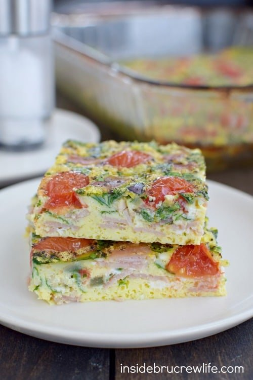 This delicious egg bake is packed full of veggies and protein and is the perfect healthy breakfast or brunch.