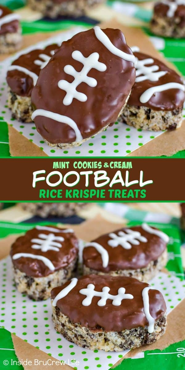 Mint Cookies and Cream Football Rice Krispie Treats - mint cookies and mint chocolate adds a fun flavor to these easy rice krispie treats! Make these football treats for all your game day parties! #ricekrispietreats #nobake #gamedaydesserts #cookiesandcream #football