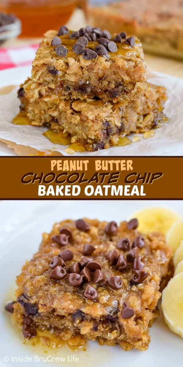 Peanut Butter Chocolate Chip Baked Oatmeal - this easy baked oatmeal is full of peanut butter and chocolate chips. Try a warm square drizzled with honey for an amazing breakfast choice! #bakedoatmeal #peanutbutter #breakfast #casserole #backtoschool #recipe