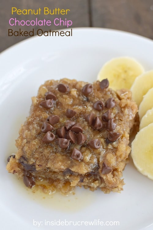 Peanut butter and chocolate chips make this baked oatmeal a delicious breakfast choice.