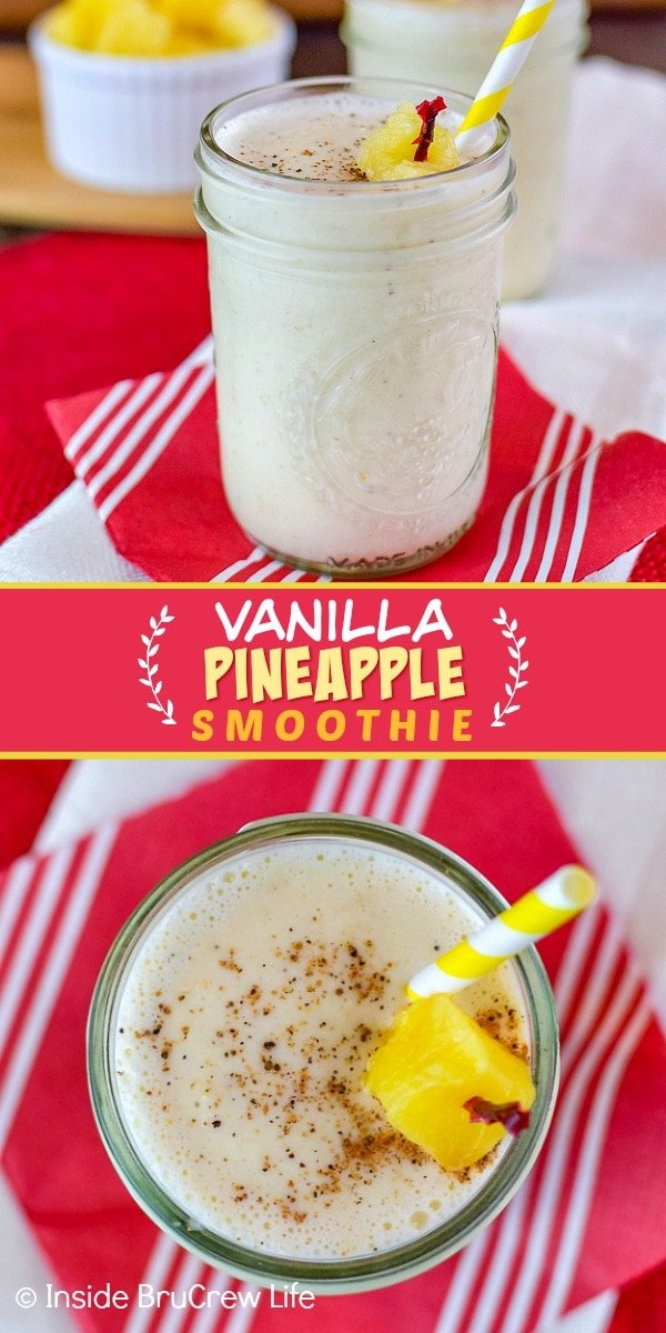 Two pictures of Vanilla Pineapple Smoothie collaged together with a red text box
